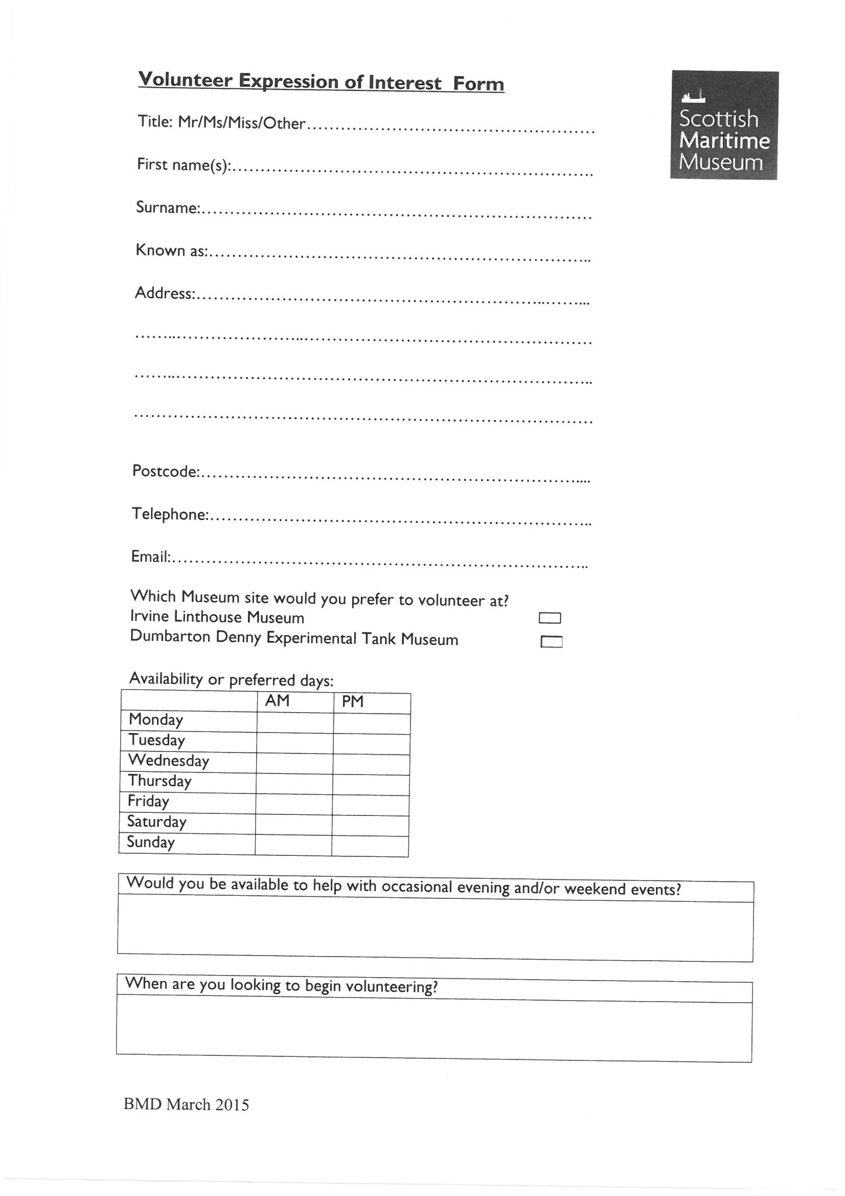 Volunteer Application Form 2016 Page 1