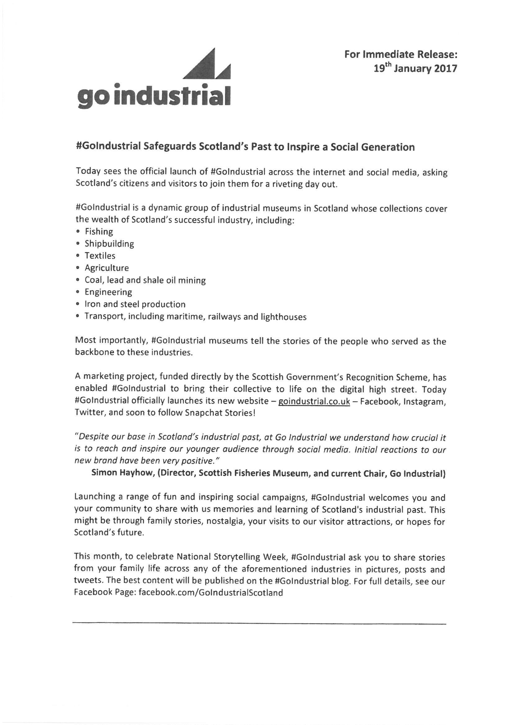 Go Industrial News Release Page 1